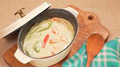 えびとアボカドのグリーンカレー鍋