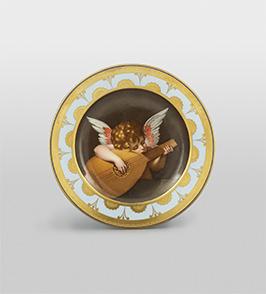 ウィーン窯・帝国磁器製作所 モーリッツ・ミヒャエル・ダフィンガー 原画:ロッソ・フィオレンティーノ 《絵皿「リュートを弾くクピド」》 1806年頃