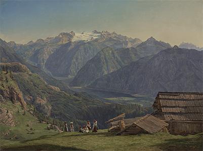 フェルディナント・ゲオルク・ヴァルトミュラー 《イシュル近くのヒュッテンエック高原からのハルシュタット湖の眺望》 1840年