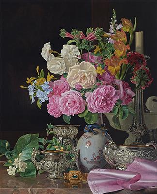 フェルディナント・ゲオルク・ヴァルトミュラー 《磁器の花瓶の花、燭台、銀器》 1839年