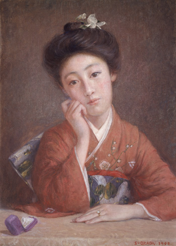 岡田三郎助《ダイヤモンドの女》1908年