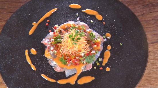 白身魚のカルパッチョ ~紅生姜とトマトのソース~