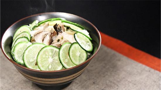 松茸とすだち香る炊き込みご飯