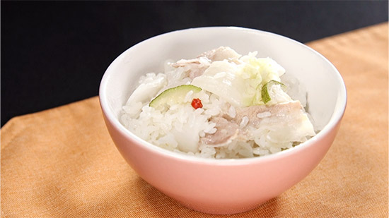 豚バラと白菜漬けのゆずご飯