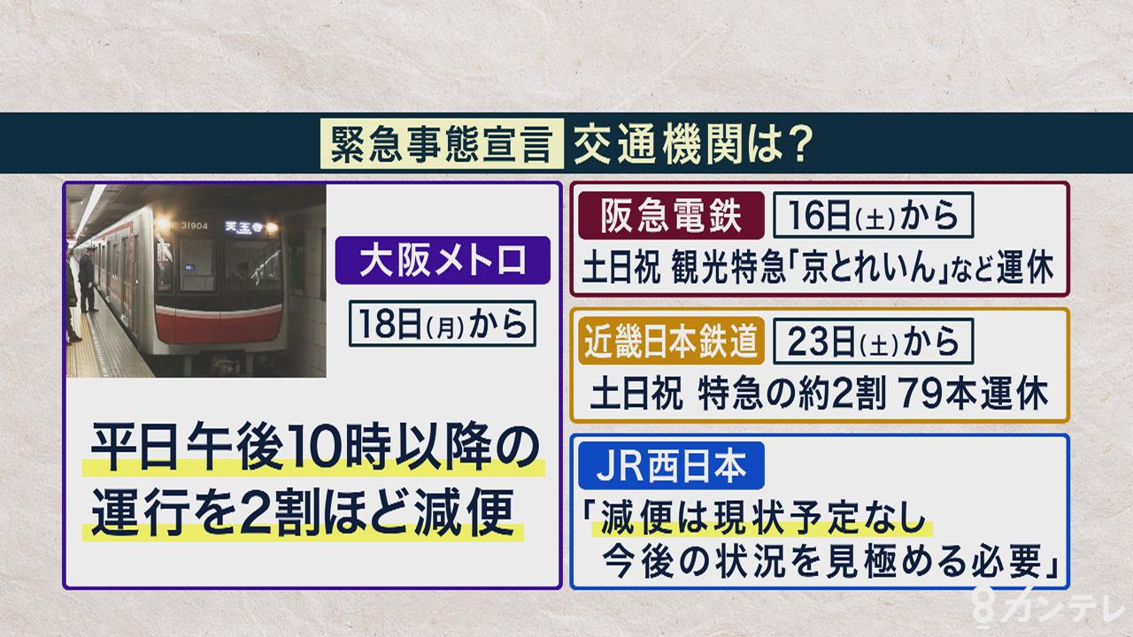 大阪メトロが平日夜の運行を減便 阪急・近鉄も特急を一部運休 緊急事態宣言