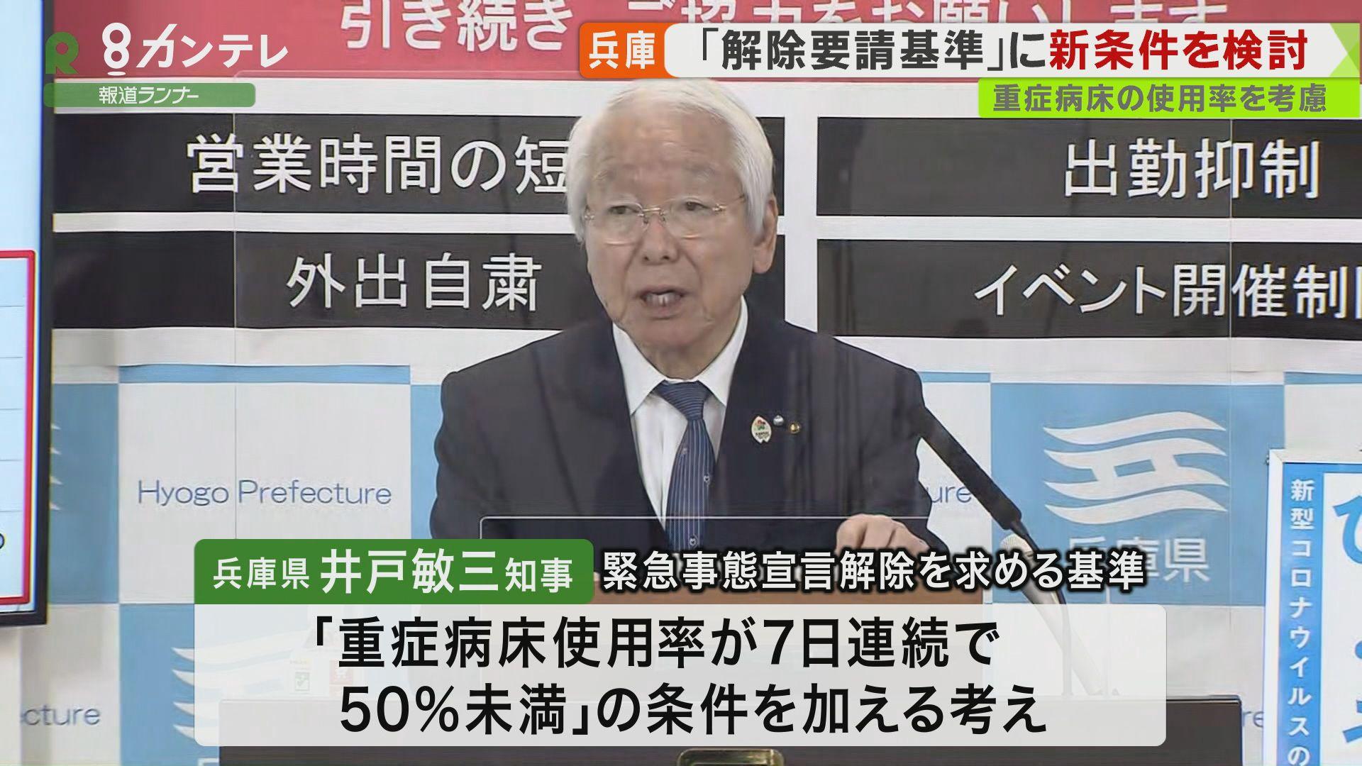 兵庫県 宣言解除の基準に「重症病床使用率」を加える考え