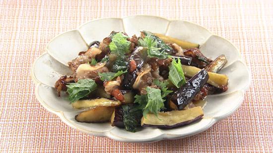 豚肉とナスの梅しそ炒め(2人前)