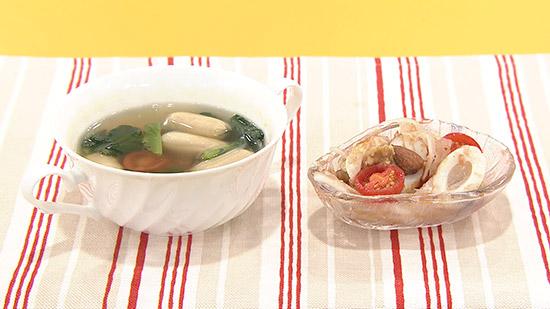 簡単ウインナースープ、ちくわとトマトのおかかポン酢